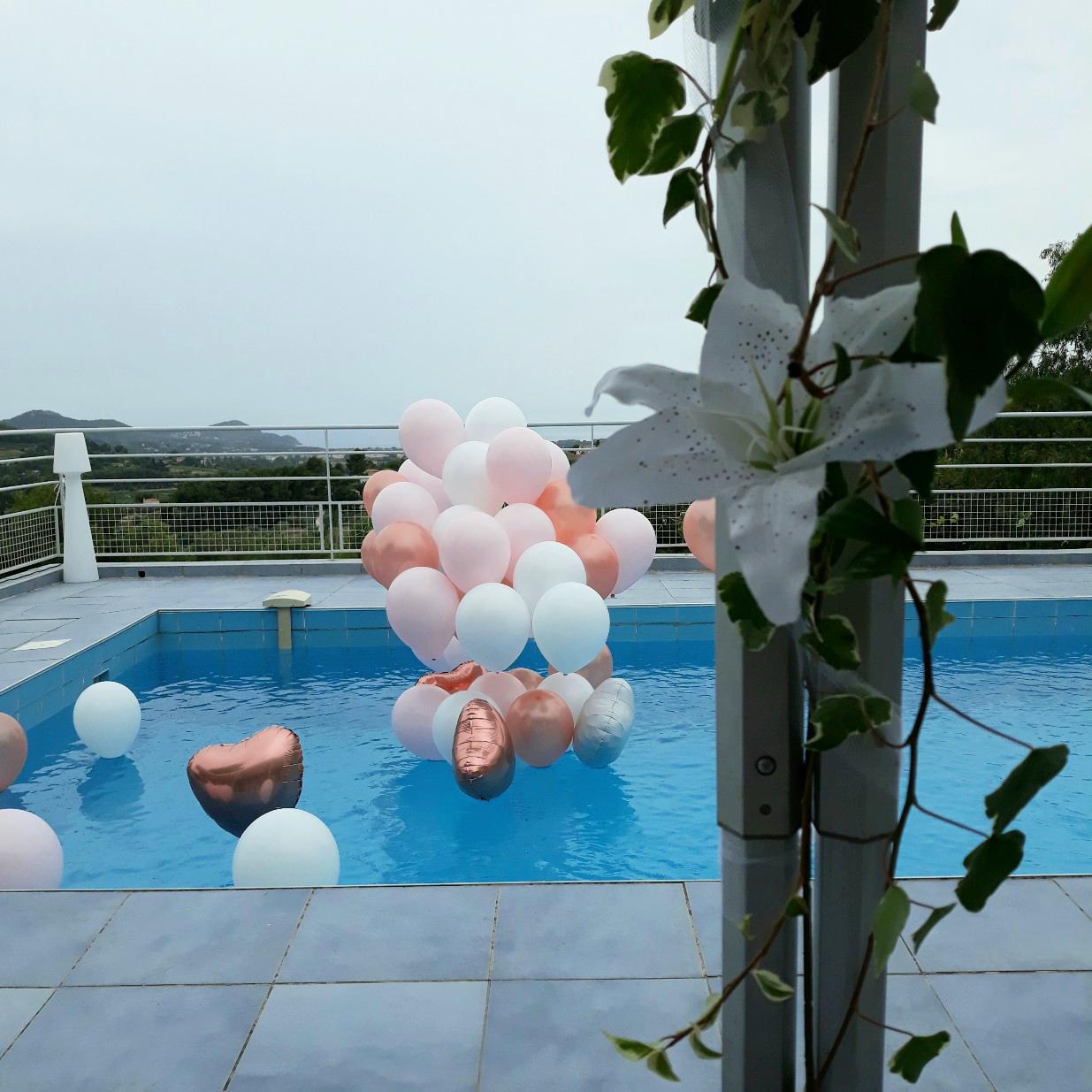 Ballon hélium piscine en bouquet