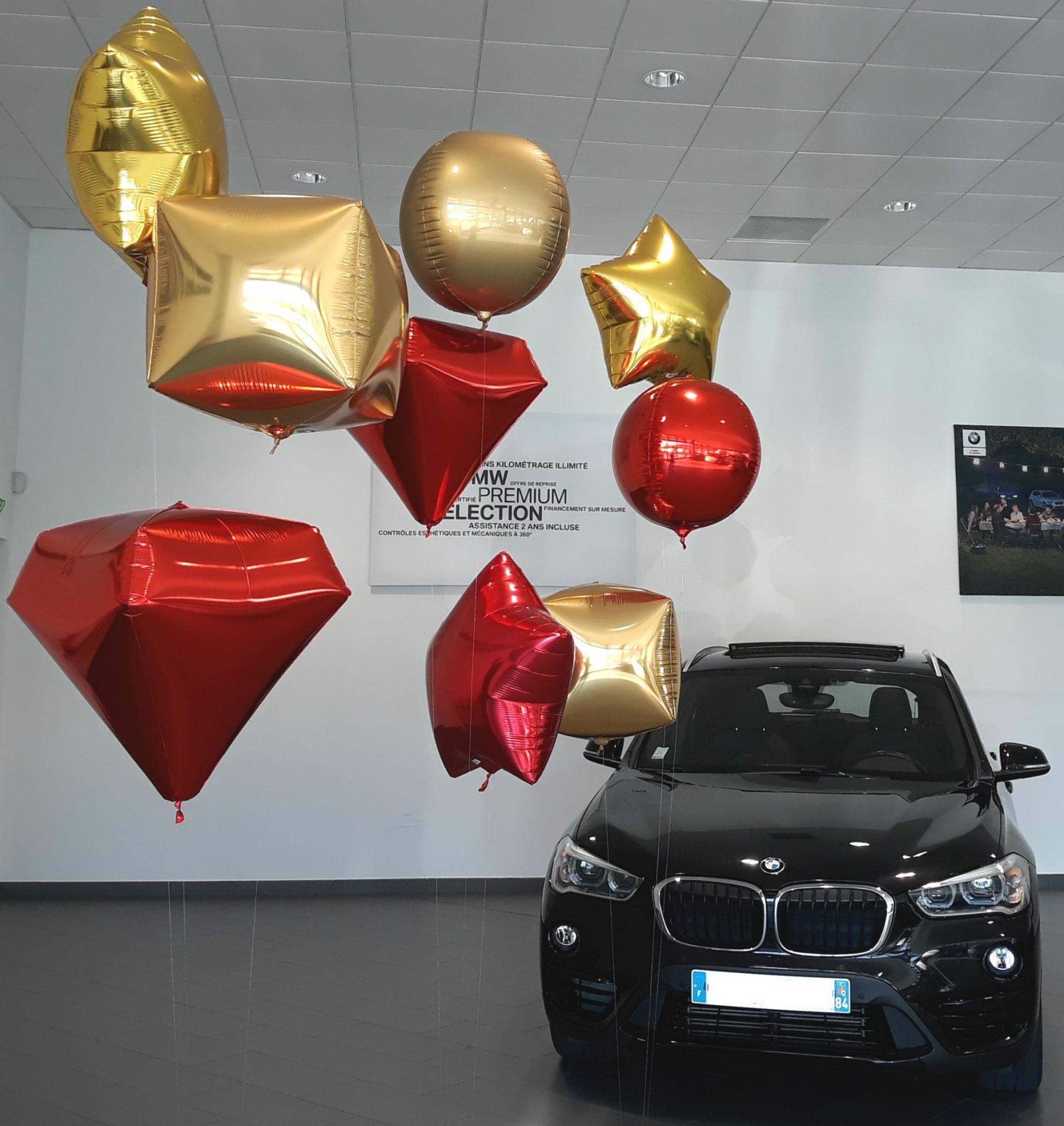 Ballons aluminium or et rouge