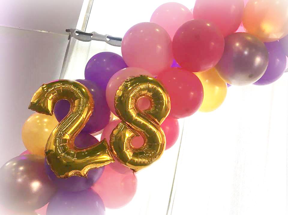Arche Ballon avec chiffres en Aluminium doré or
