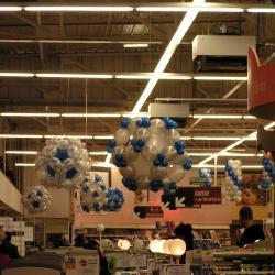 Décoration Ballons blanc, bleu et argent
