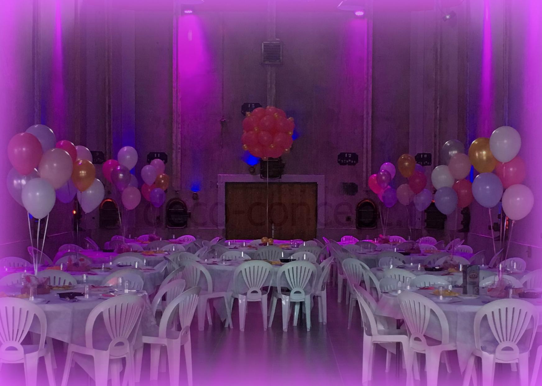 Décoration avec ballons helium sur table