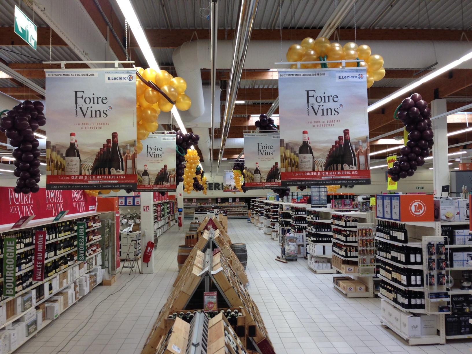 Décoration autour du Vin supermarché