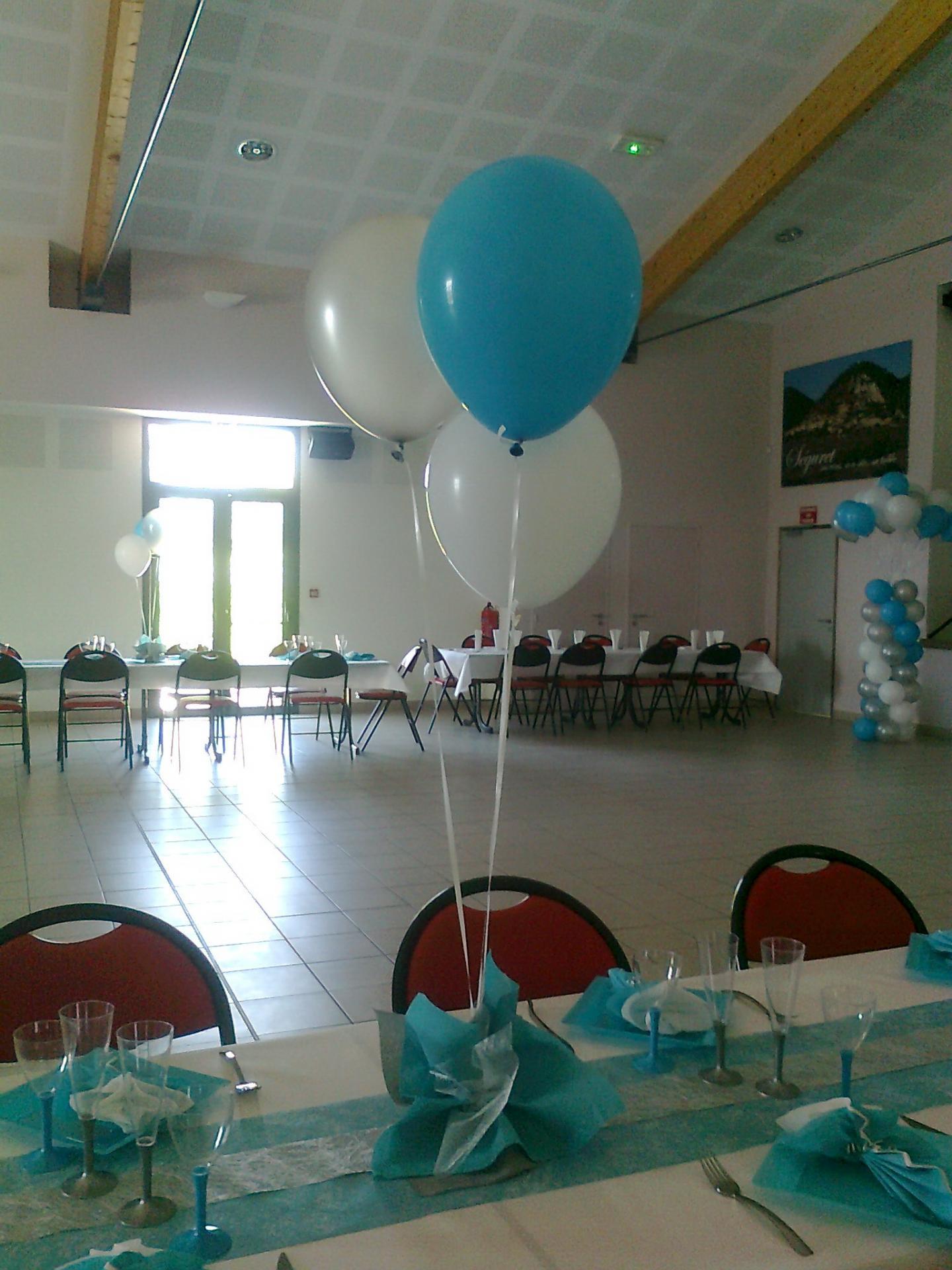 Décoration Ballons Baptême : blanc,argent et turquoise